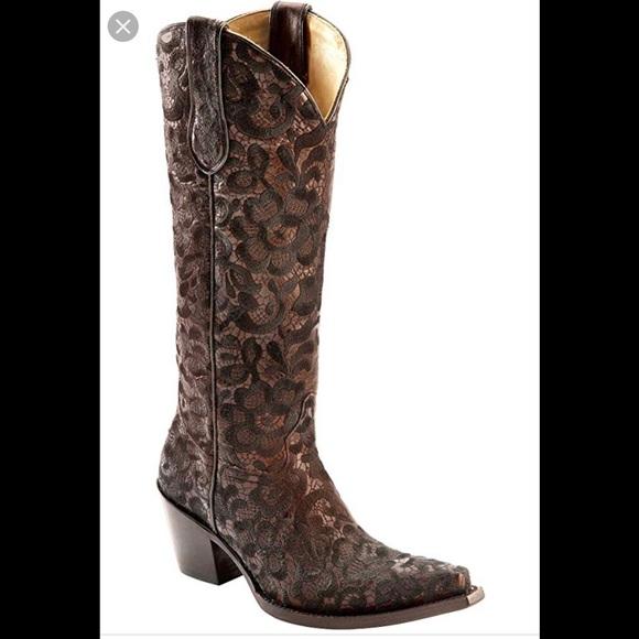 25ec14c274bb Corral Shoes | Western Floral Lace Snip Toe Cowboy Boots | Poshmark